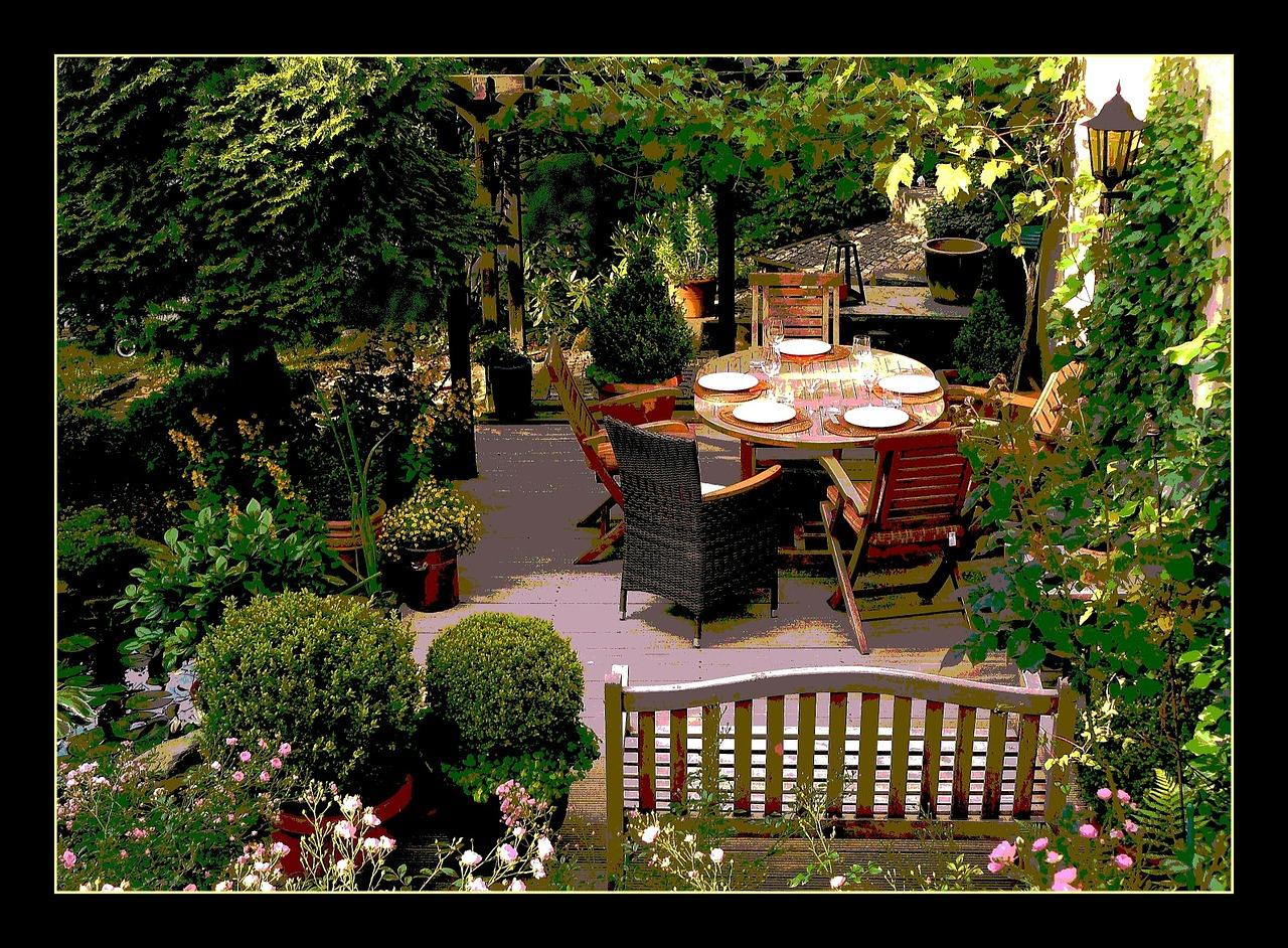 Außenleuchten mit Lounge Möbeln